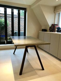 Concrete slabs made to order - choose the size of your table!  This is real concrete, a specialist glass fibre reinforced mix meaning slabs can be cast very thin to make them a lot lighter. A far superior product to any micro cement layer - this is the real deal. Add pigment to the mix