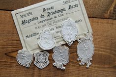 Collection of 6 initial lace embroidery monogram Z  - label, tag, antique lace embroidery trim personalise by Yebisu on Etsy