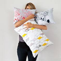 """Graphic flower pillow - hand screen printed 30x40 """"Fluor Up"""""""