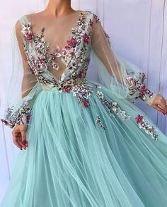 Teuta Matoshi Duriqi™: Turquoise Queen TMD Gown - Turquoise dress color - Tulle fabric - Handmade embroidery flowers - A-line and V-neck shape with long sleeves - Fairy looking dress with fowers Prom Dresses 2018, Prom Dresses With Sleeves, Tulle Prom Dress, Evening Dresses, Dress Up, Dress Party, Dress Long, Wedding Dresses, Bridesmaid Dress
