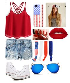 """""""4th of July outfit!!"""" by aspenflach0808 on Polyvore featuring American Eagle Outfitters, Converse, Casetify, Lime Crime, Mixit and Ray-Ban"""