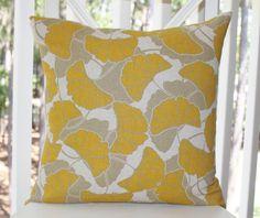 Yellow Pillow Yellow Grey Beige Pillow Yellow by MotifPillows