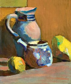 Nature morte au pot bleu (Still life with blue pot), oil on paper laid on canvas (c. 1904), by André Derain,