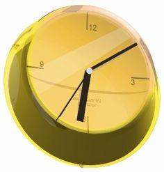 Casa Bugatti Glamour zegary ścienne, kolorowe zagary, kolorowa nowoczesna kuchnia, akcesoria wyposażenie wnętrz, żółty