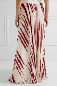 Tory Burch - Lucea Printed Crinkled-chiffon Maxi Skirt - Cream