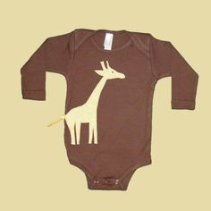Giraffe Long-Sleeve Brown One Piece Body Suit for Babies