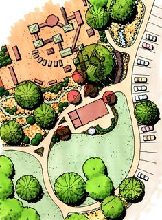 Landscape Sketch How To 35 Ideas Landscape Architecture Drawing, Landscape Sketch, Landscape Design Plans, Landscape Drawings, Architecture Sketches, Parque Linear, Landscaping On A Hill, Natural Landscaping, Plan Sketch
