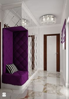 Violet Glamour - zdjęcie od Home Atelier Aneta Rosińska-Dadsi Drawing Room Interior Design, Home Room Design, Home Interior Design, Living Room Designs, House Design, Wardrobe Design Bedroom, Luxury Bedroom Design, Bedroom Furniture Design, Mirror Decor Living Room