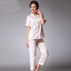 Brand Women Pajamas Set Satin Silk Nightgown High Quality European Pajamas Set Leopard Short Sleeve Long Pants Nightgown