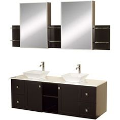 "60"" Avara-60 Espresso Bathroom Vanity #BathroomRemodel #BlondyBathHome #BathroomVanity  #ModernVanity"