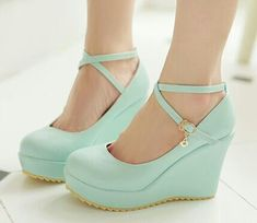 2015 new women's shoes cute platform shoes wedges round toe shallow mouth plus s. 2015 new women's shoes cute platform shoes wedges round toe shallow mouth plus size 42 43 high heels party shoes(China (Mainland)). Ankle Strap Wedges, Womens Shoes Wedges, Women's Shoes, Wedge Heels, Shoe Boots, High Heels, Footwear Shoes, Cute Shoes Boots, Gowns