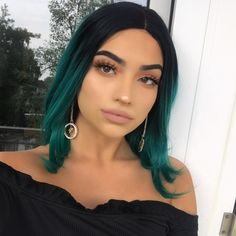 Peruvian Hair Teal Ombre With Black Root Lace Front Bob Wig Straight Peruvian Hair Teal Ombre With Black Root Lace Front Bob Wig Straight – Lux Hair Shop Ombre Bob, Green Hair Ombre, Dark Green Hair, Short Green Hair, Green Wig, Green Hair Streaks, Blue Green, Dyed Hair Ombre, Black Ombre