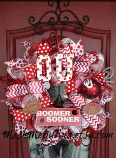 Oklahoma Sooners wreath, plaid mesh and bling letters on Etsy, $100.00