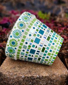 Mosaic Flower Pot – Mosaic Vase in Green and Teal – Mosaic Container – Mosaic Garden Pot - Modern Mosaic Planters, Mosaic Garden Art, Mosaic Tile Art, Mosaic Vase, Mosaic Flower Pots, Mosaic Artwork, Mirror Mosaic, Mosaic Diy, Mosaic Crafts