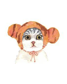 Funny Earmuffs Watercolor Cat