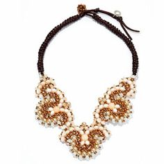 """RUSH 23"""" Crystal, Glass & Simulated Pearl Bead Woven Bib Necklace"""