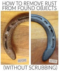 remove rust from metal tools and found objects without scrubbing witha soak in this natural solution- good to know for horseshoe projects House Cleaning Tips, Diy Cleaning Products, Deep Cleaning, Cleaning Hacks, Cleaning Solutions, Cleaning Rusty Tools, Clean Tools, Cleaning Recipes, Horseshoe Projects