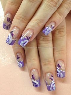 Purple glitter with white french tips and one stroke flower nail eye candy nails training lilac one stroke flowers over acrylic nails by elaine moore on 16 july 2013 at prinsesfo Choice Image