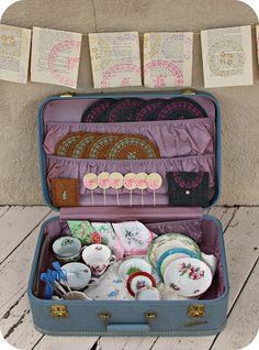 This tea party in a box makes a wonderful Mother's Day project. Learn how to make five project in this suitcase. #crafts #martha stewart #mother's day