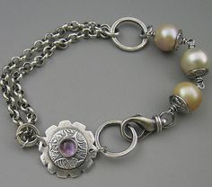 "Fine Silver Pearl Amethyst Sterling Bracelet-$95 -A hand formed pure silver focal with a bezel set natural amethyst is accompanied by fused fine silver links, rolo sterling chain and three flameball freshwater pearls-I like it WITHOUT the competing amethyst    ~ 7"" inside circumference - size can be adjusted  ~ quality recycled fine silver and sterling components  ~ made with care"