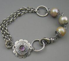 Fine Silver Pearl Amethyst Sterling Bracelet