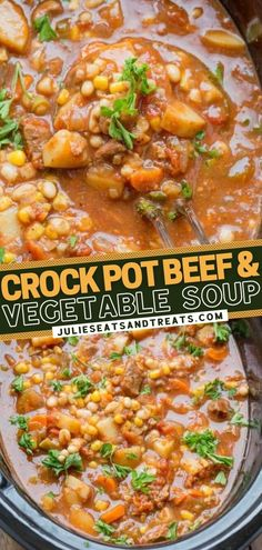 Prepare to fall in love with this all-time favorite slow cooker recipe! Loaded with vegetables and deliciously tender beef, this hearty soup is the ultimate crock pot comfort food. There is nothing quite like coming home to this easy dinner on those chilly winter nights! Keto Crockpot Recipes, Healthy Soup Recipes, Slow Cooker Recipes, Cheesy Potato Soup, Soup With Ground Beef, Vegetarian Soup, Slow Cooker Soup, Homemade Food, My Favorite Food