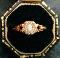 Antique Victorian Opal and Diamond Ring on Etsy, $535.00
