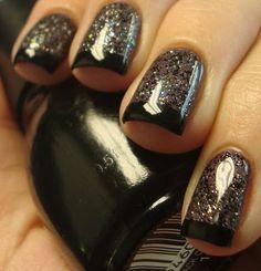 Nicoles Pitch Black Glimmer on top of purple with black tips #nails