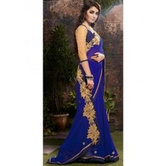Royal Blue and Gold Georgette Saree