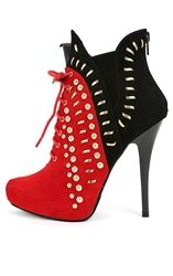 Liliana Ricci-21 Red Two Tone Studded Lace Up Bootie