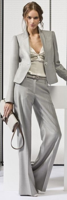Classic grey suit, but trouser style give  s it some spunk