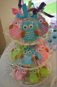 "These pretty owl cookies fit right in with both the blue and pink versions of the ""Look Whoo's Turning One"" theme. http://www.thepartyworks.com/search.php?keywords=look+whoo&x=30&y=10"