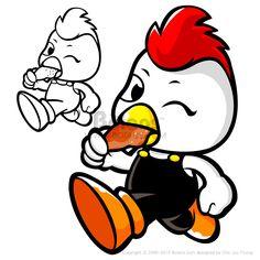 가게를 홍보하는 닭 캐릭터. 동물 캐릭터 디자인 시리즈. (BCDS010492)  Chicken Mascot in shop to promote. An animal Character Design Series. (BCDS010492)  Copyrightⓒ2000-2013 Boians.com designed by Cho Joo Young.