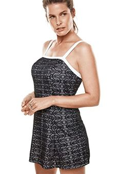 f12ced70bb109 Amazon.com: Swimsuits For All Women's Plus Size Crochet Swimdress: Clothing