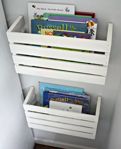 wine or made crates for book shelves