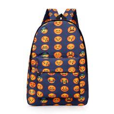 New 2016 Kids Cute Emoji Printing School Bags Children Canvas Backpacks For Teenager Girls Casual Women Laptop Mochila Feminina