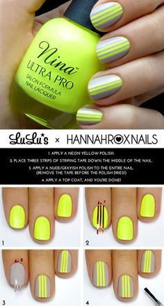 DIY Nail Art Tutorial. Trendy nail polish color pattern combinations. Picture tutorial for manicure pedicure polish. Pampadour.com is a community of beauty bloggers, professionals, brands beauty enthusiasts!