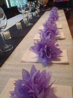 Wedding decor, Paper flowers, baby showers, home decor. Purple Wedding Centerpieces, Party Centerpieces, Lavender Wedding Decorations, Purple Birthday, Purple Party, Wedding Table, Our Wedding, Paper Pom Poms, Tulle Poms