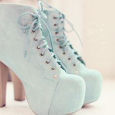 Pastel green lace up boots