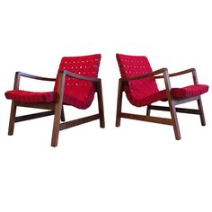 Pair of Early Jens Risom Lounge Chairs for Knoll   From a unique collection of antique and modern lounge chairs at https://www.1stdibs.com/furniture/seating/lounge-chairs/