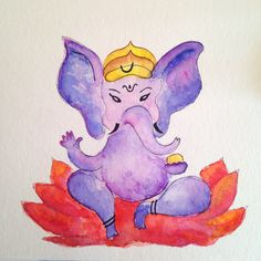 Ganesha by Adriana Galindo aquarela/watercolor, 14x14 cm. Disponível venda/sale: drigalindo1@gmail...