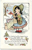 "B5468 Girl Time Table ""..to be with You on Christmas Eve"" - Old Postcard Whitney"