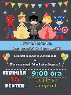 Farsangi mulatság plakát meghívó rákóczi tagóvoda