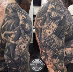 25 Ideas for tattoo leg sleeve galleries Clown Tattoo, Creepy Tattoos, Badass Tattoos, Sexy Tattoos, Body Art Tattoos, Cool Tattoos, Cover Up Tattoos For Men, Tattoos For Guys, Tattoo Sleeve Designs