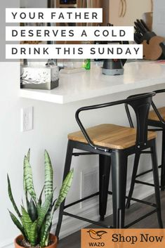 Get Your Father a Cold Drink with Our Bar Stool High Bar Stools, Wooden Bar Stools, Dining Chairs, Dining Table, Mid Century Modern Sofa, Night Table, Industrial Furniture, Benches, Mid-century Modern