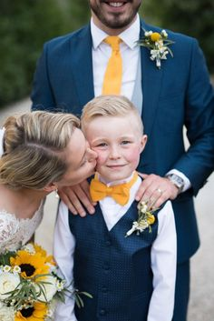 Veil Long Lace Up Do Scoop Back Gown Cap Sleeve Groom Side Boy Yellow Navy Outdoor Tuscany Wedding www. Wedding Groom, Blue Wedding, Wedding Colors, Dream Wedding, Wedding Flowers, Wedding Attire, Navy Yellow Weddings, Yellow Bridesmaid Dresses, Bridesmaid Ideas