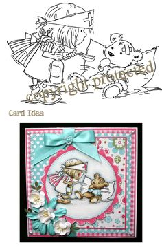 Digital Lili of the Valley Digi Stamp Birthday Female JPEG Time for a Cuppa Sweet Artwork Girl Cute AS