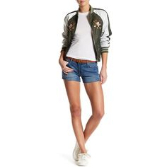 DL1961 Renee Distressed Short ($50) ❤ liked on Polyvore featuring shorts, hoffman, distressed shorts, dl1961 premium denim, short shorts, destroyed shorts and ripped shorts
