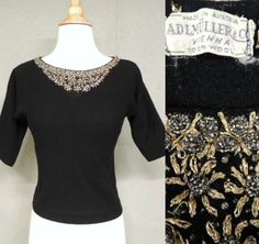 Vintage 40s 50s Sweater / ADLMuller & Co Austrian Beaded Black Wool Bombshell PinUp Cropped Top