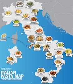 Top 25 delicious Italian pasta dishes you should taste, beyond Spaghetti Bolognese, described by by region with pictures and map Italian Pasta Dishes, Food Map, Spaghetti Bolognese, Pasta Spaghetti, Italy Food, Italian Language, Learning Italian, Thinking Day, Italy Vacation